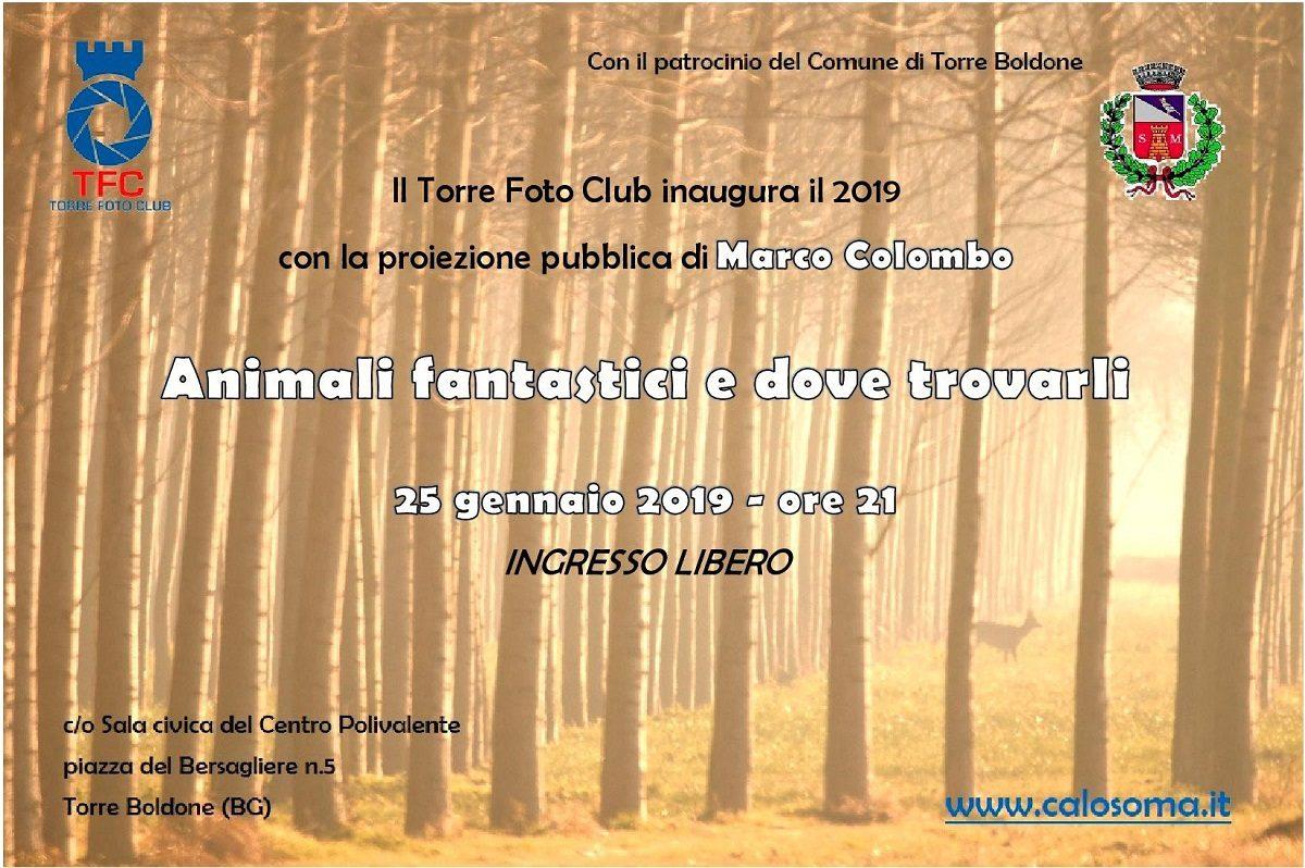 Locandina della serata di inaugurazione del nuovo anno di attività del TFC: proiezione pubblica del fotografo naturalista Marco Colombo.